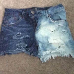 Once side bleached jean shorts